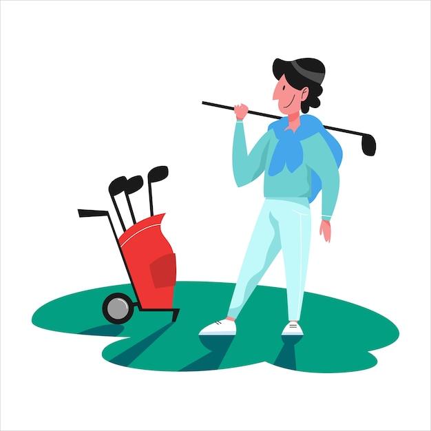 Man golfen. persoon bedrijf club en bal. zomercompetitie, buitenspel. illustratie Premium Vector
