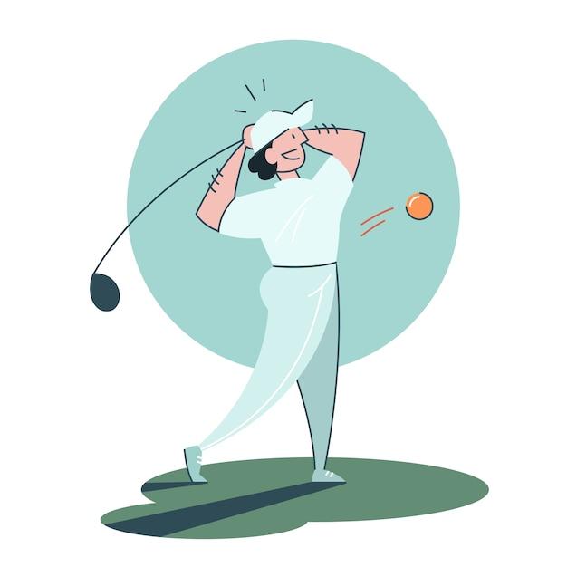 Man golfen. persoon bedrijf club en bal. Premium Vector