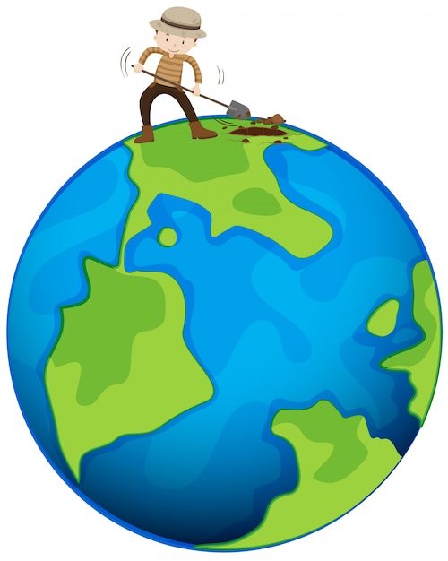 Man graven van de aarde Gratis Vector