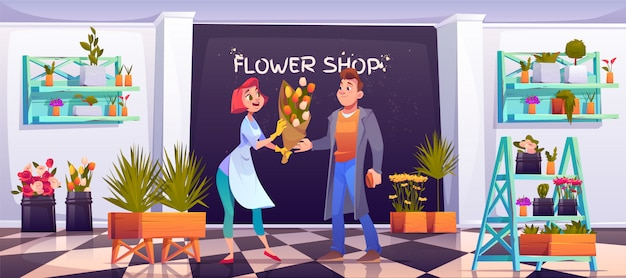 Man het kopen boeket in bloemenwinkel, floristische winkel Gratis Vector