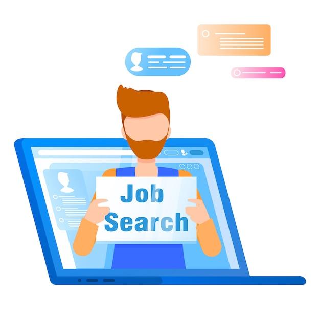 Man hold job search plaque gaat uit laptopscherm Gratis Vector