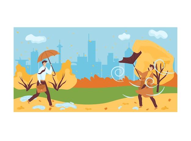 Man houdt paraplu lopen in stedelijk stadspark Premium Vector