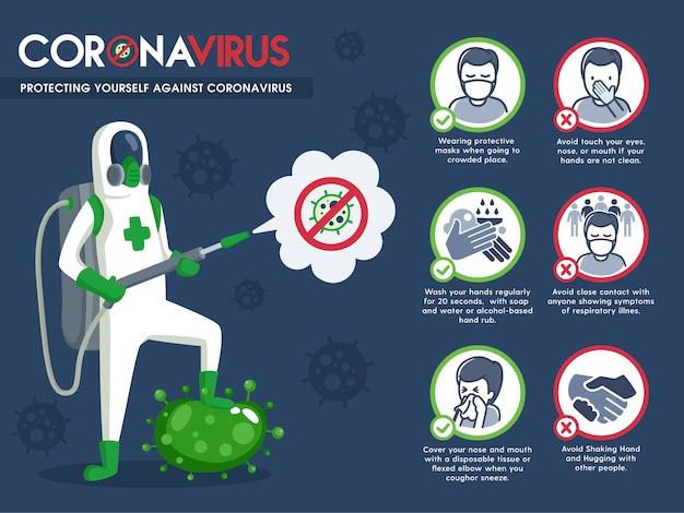 Man in beschermende hazmat pak en preventie coronavirus infographic Premium Vector