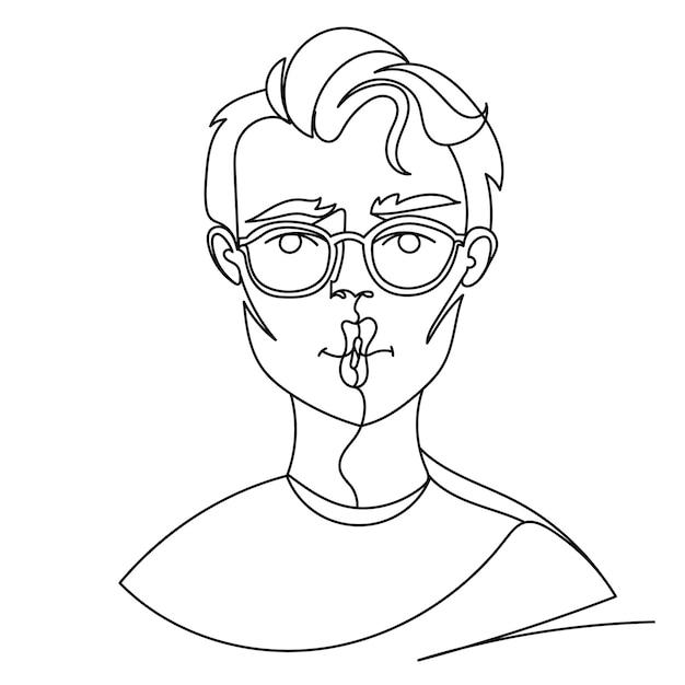 Man in bril poseren kiss portret een lijntekeningen. mannelijke gezichtsuitdrukking. hand getekend lineaire man silhouet. Premium Vector