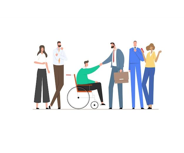 Man in een rolstoel schudt handen met een zakenpartner of baas in een pak. Premium Vector