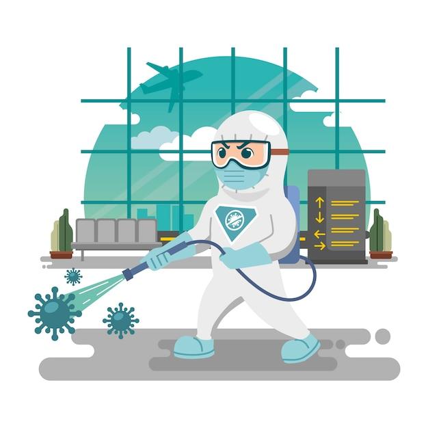 Man in hazmat desinfectie concept Gratis Vector