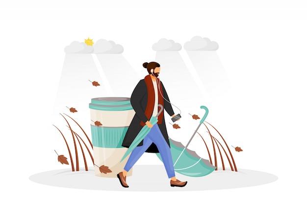 Man in jas gaan wandelen Premium Vector