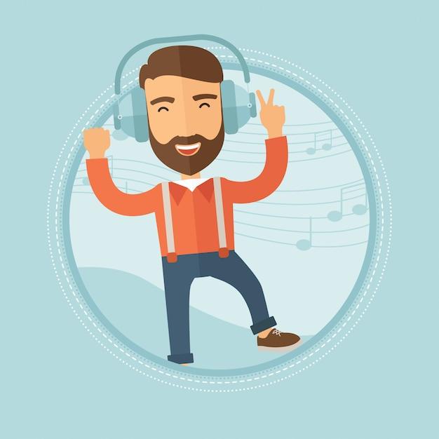 Man in koptelefoon dansen Premium Vector
