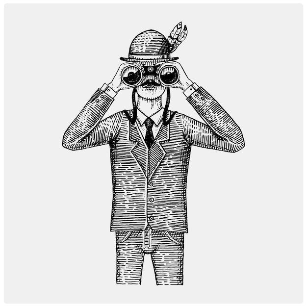 Man in kostuum kijken door de verrekijker, kijker vintage oude gegraveerd of met de hand getekende illustratie. Premium Vector