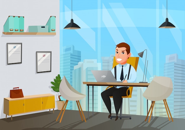 Man in office illustratie Gratis Vector