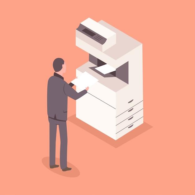 Man in pak met een papier in de buurt van een kantoorprinter. 3d plat isometrische zakenpersoneel illustratie. Premium Vector