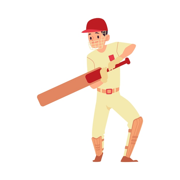 Man in pet en sport uniforme staat met cricket bat cartoon-stijl Premium Vector