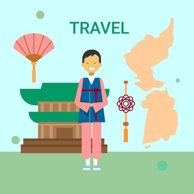 Man in traditionele koreaanse kleren over korea kaart en tempel Premium Vector