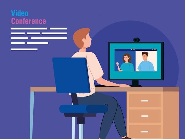 Man in videoconferentie van de computer Gratis Vector