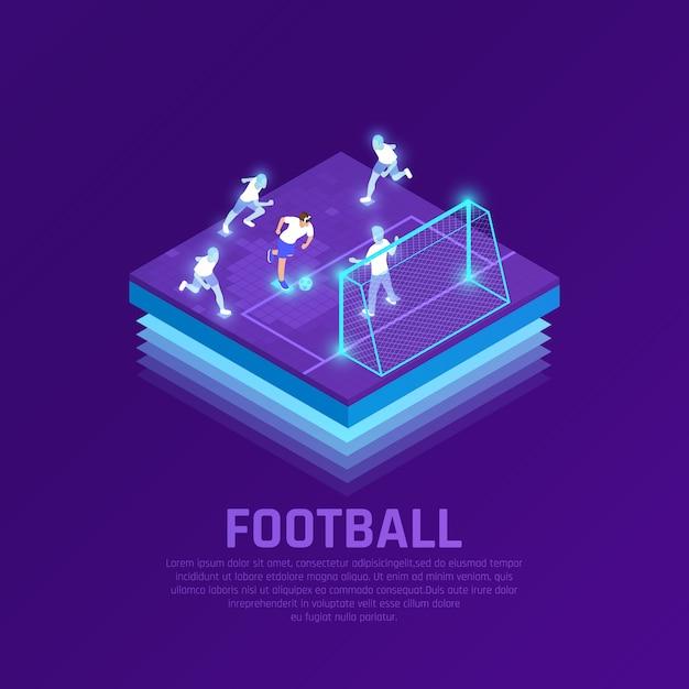 Man in vr headset en virtuele spelers tijdens isometrische samenstelling van het voetbalspel op paars Gratis Vector