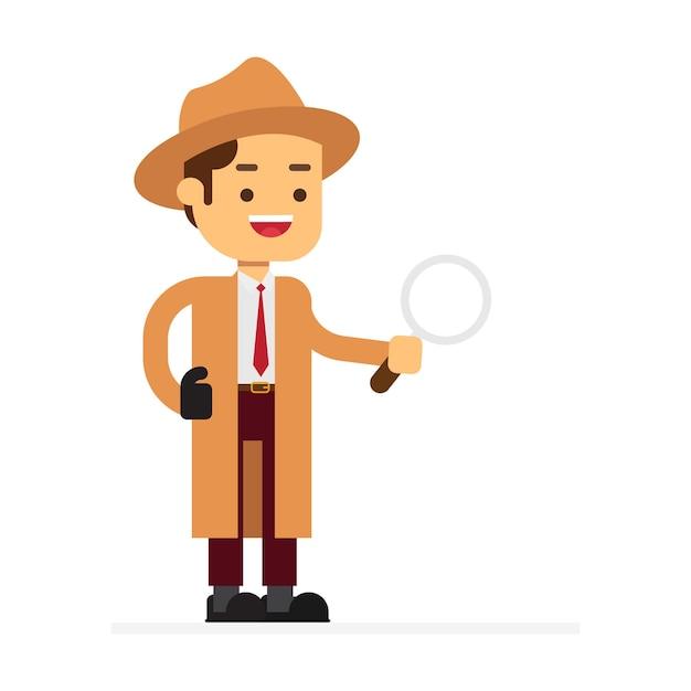 Man karakter avatar pictogram. detective in een beige regenjas en hoed Premium Vector