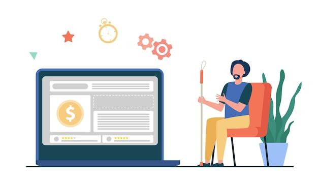 Man kijken valutakoers op computermonitor. geldprijs, online winkel verkoop vlakke afbeelding Gratis Vector