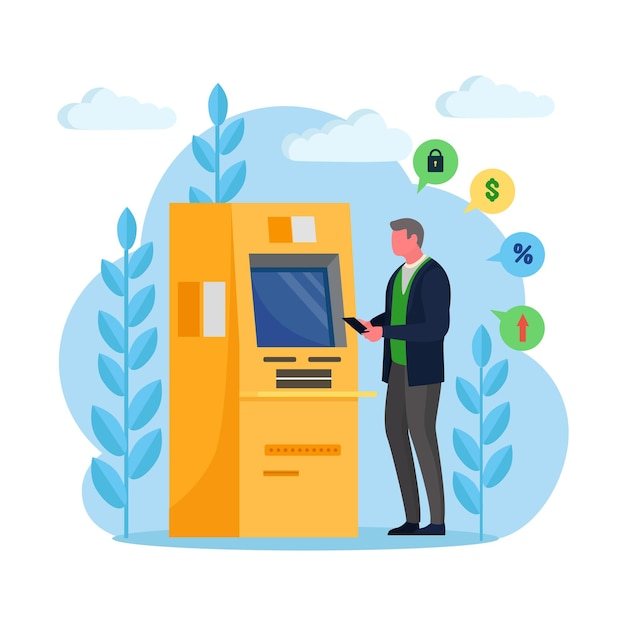 Man klant permanent in de buurt van de machine van de creditcardlezer en geld opnemen Premium Vector