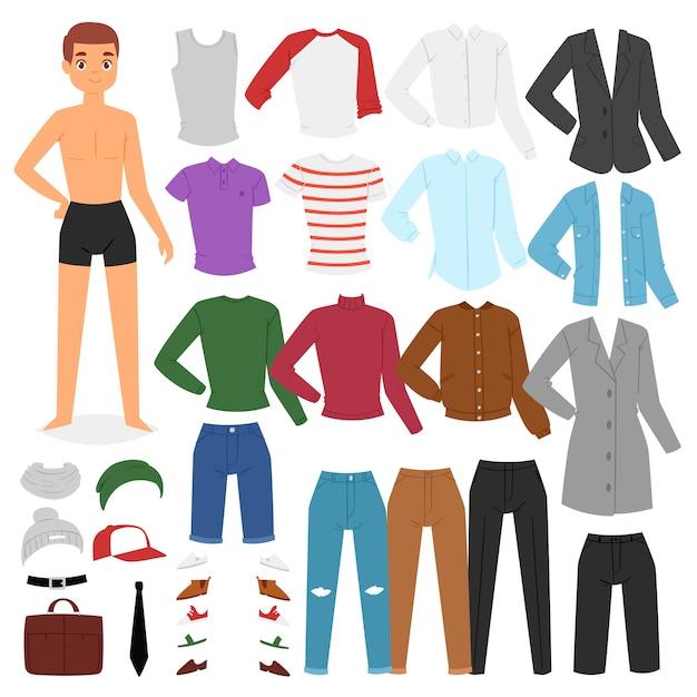 Man kleding jongen karakter aankleden kleding met mode broek of schoenen illustratie jongensachtige set mannelijke doek voor het knippen van cap of t-short op witte achtergrond Premium Vector