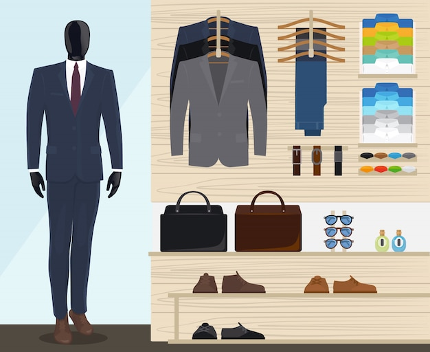 Man kledingwinkel vectorillustratie Premium Vector