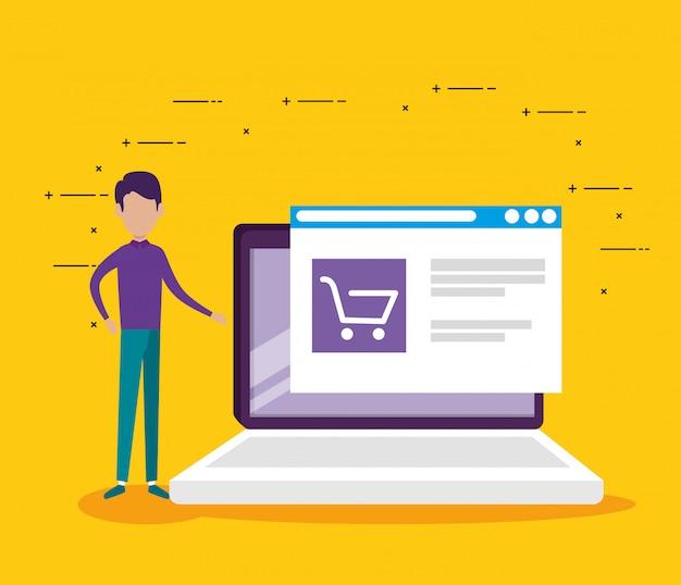 Man laptop technologie en website markt verkoop Gratis Vector