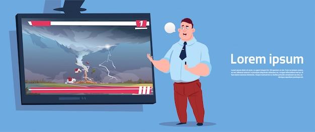 Man leidt live tv-uitzending over tornado vernietigt farm hurricane schade nieuws van storm waterspout in platteland natuurramp concept Premium Vector