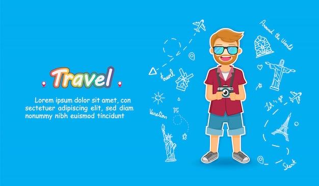 Man leuke cartoon reiziger. vliegtuig check-in punt reizen doodle hand tekenen accessoires over de hele wereld Premium Vector