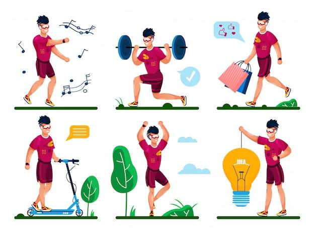 Man life routine, fitness training concepten Premium Vector