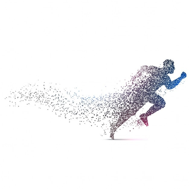 Man loopt backgorund gemaakt met dynamische deeltjes Gratis Vector