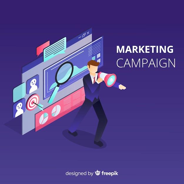 Man marketing campagne achtergrond Gratis Vector