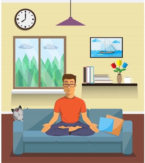 Man mediteert in de lotuspositie van yoga in het interieur van het huis. rustig poseren, mentale balans, harmonie, spiritualiteitsenergie, lichaamsbeweging zitten. vlak . Premium Vector