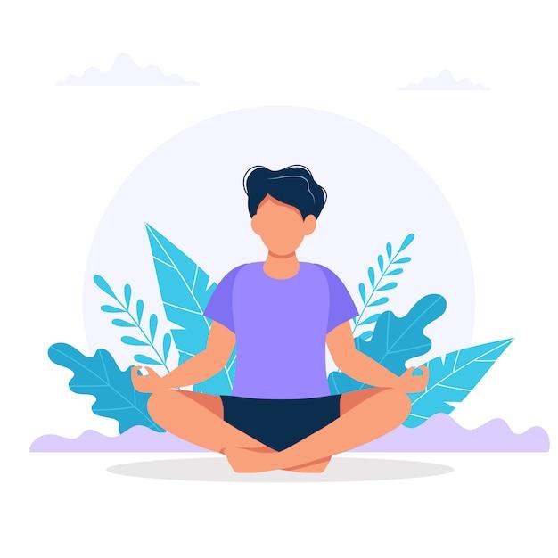 Man mediteren in de natuur. Premium Vector