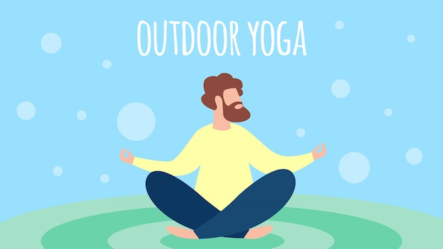 Man mediteren outdoor yoga in lotus pose Premium Vector
