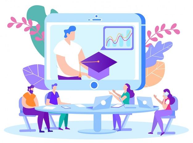 Man met afstuderen cap in handen op monitor front studenten. online les. e-learning. online training. man met laptop. Premium Vector