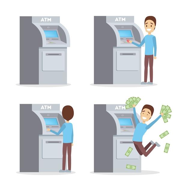 Man met atm-machine. guy invoegen creditcard, bellen pincode en stapel geld opnemen. tevreden bankklant. vlak Premium Vector
