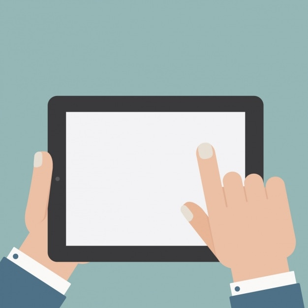 Man met behulp van een tablet ontwerp Gratis Vector