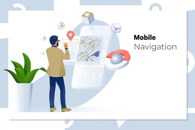 Man met behulp van navigatie-app op de mobiele telefoon Premium Vector