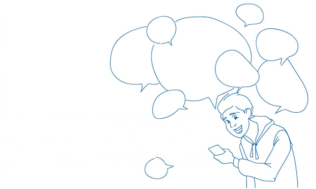 Man met behulp van smartphone berichten chat bubbels online spraak Premium Vector
