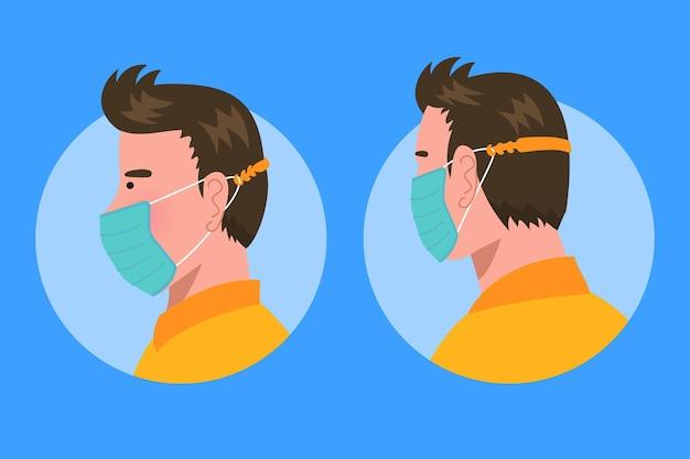 Man met een verstelbare gezichtsmasker riem Gratis Vector