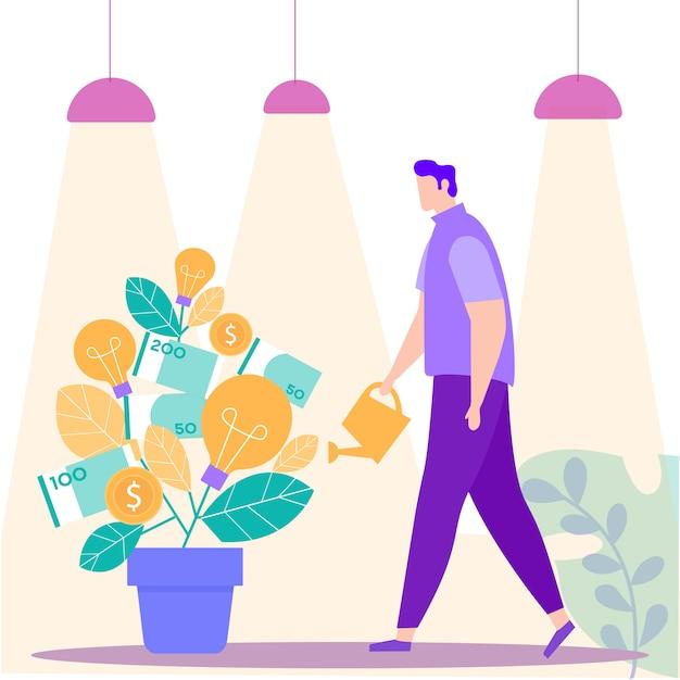 Man met gieter hand in de buurt van money tree. vector Premium Vector
