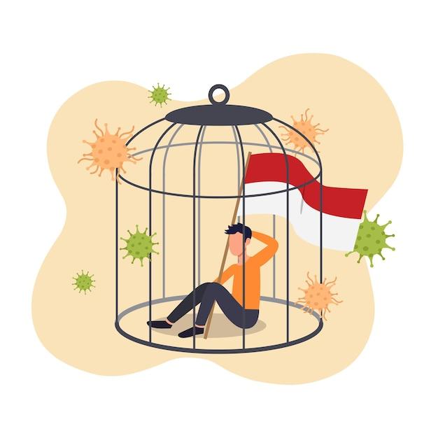 Man met indonesische vlag opgesloten in een vogelkooi-concept. indonesië sluit zich af om te anticiperen op een nieuwe stam van coronavirusmutatie. plat ontwerp. Premium Vector