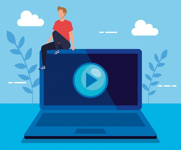 Man met laptop technologie en video afspelen Premium Vector