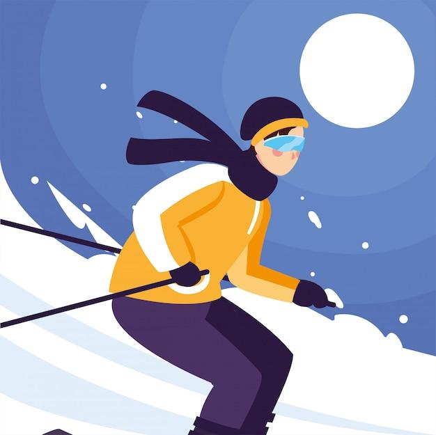 Man met mountain ski, permanent en in beweging. alpine skiën, extreme wintersport Premium Vector