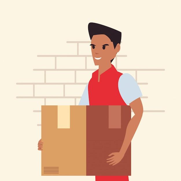 Man met pakket snelle levering logistiek Premium Vector