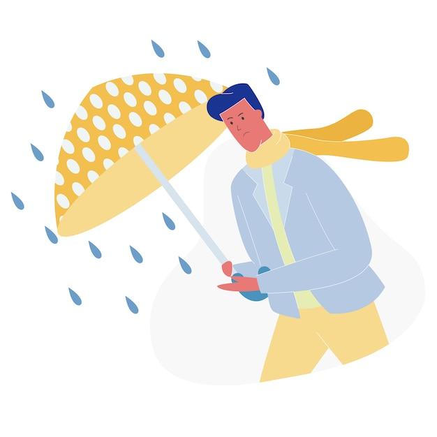 Man met paraplu lopen tegen wind en regen Premium Vector