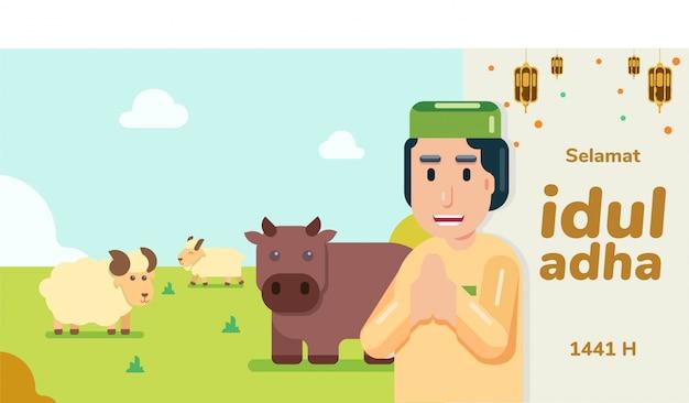 Man met peci groet selamat idul adha eid al adha mohon maaf lahir dan batin met bruine koe witte schapen en geit op gras vlak en horizontaal Premium Vector