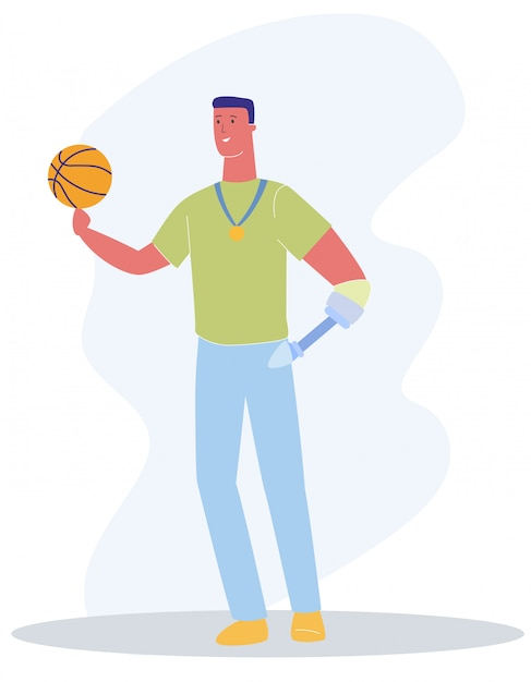 Man met prothese arm met bal basketbalspel Premium Vector