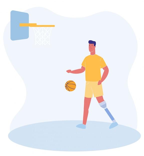 Man met prothese speel basketbal op speelplaats Premium Vector