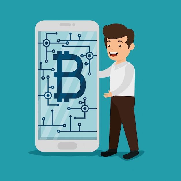Man met smartphone met elektronische bitcoin-valuta Gratis Vector