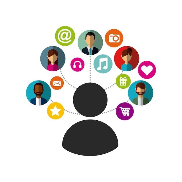 Man met sociale media pictogrammen rond Premium Vector